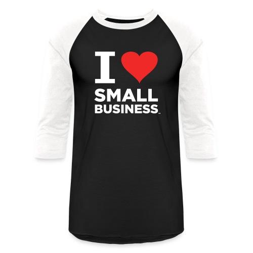 I Heart Small Business Logo (Red & White) - Unisex Baseball T-Shirt