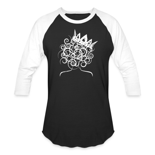 Curly Queen with Crown_ GlobalCouture Women's T-Sh - Unisex Baseball T-Shirt