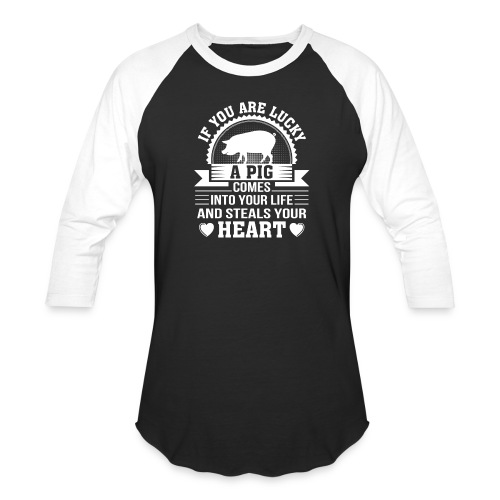 Mini Pig Comes Your Life Steals Heart - Baseball T-Shirt
