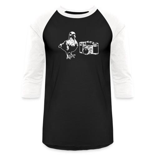 Pigeon Camera White - Unisex Baseball T-Shirt