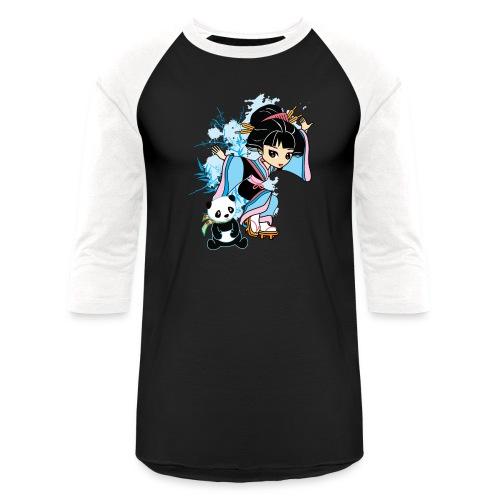 Cartoon Kawaii Geisha Panda Ladies T-shirt by - Baseball T-Shirt