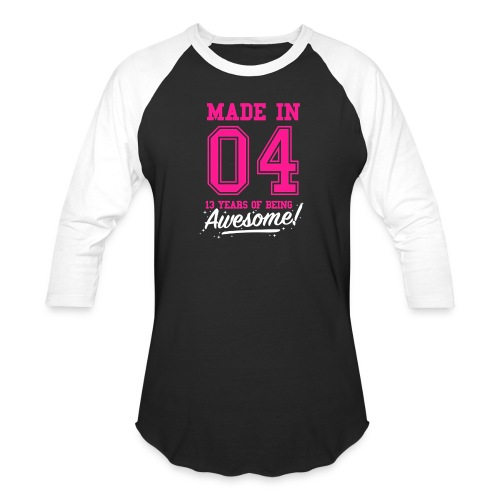 Made In 2004 Awesome 13th Birthday - Unisex Baseball T-Shirt