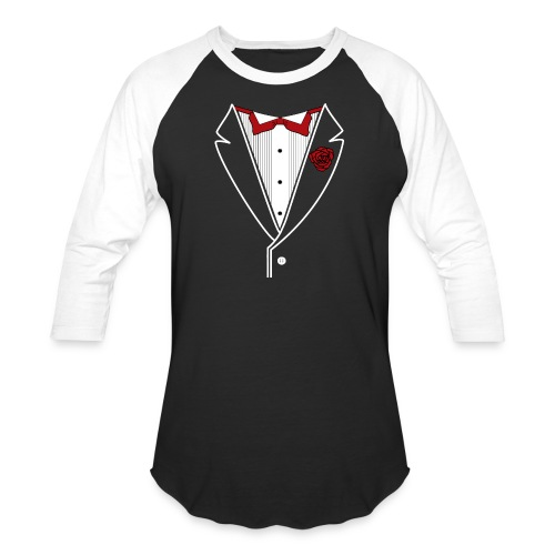 Tuxedo with Red bow tie - Unisex Baseball T-Shirt