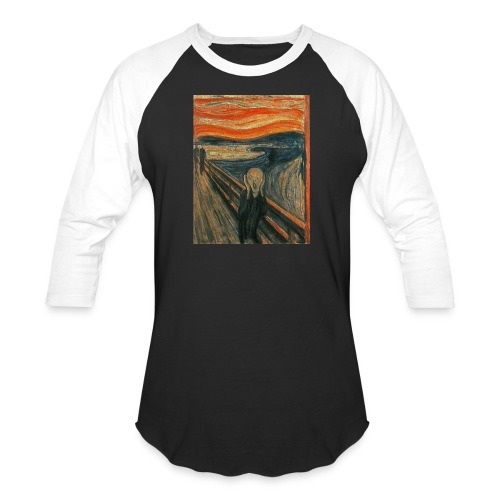 The Scream (Textured) by Edvard Munch - Baseball T-Shirt