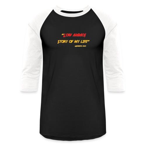 Logoed back with low ammo front - Unisex Baseball T-Shirt