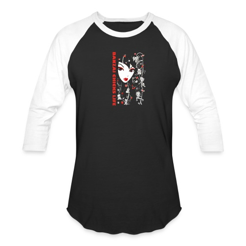Banzai Chicks Super Cute Big Face and Chibi Tee - Unisex Baseball T-Shirt