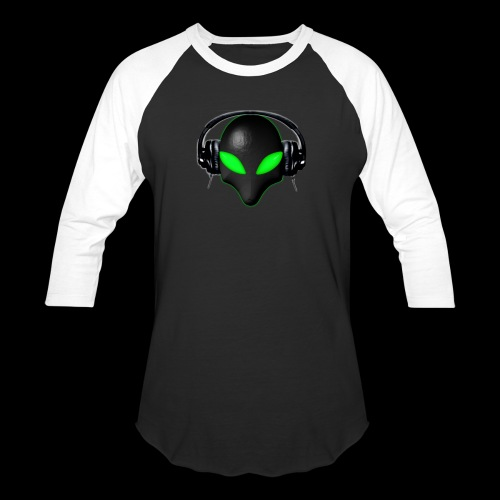 Alien Bug Face Green Eyes in DJ Headphones - Baseball T-Shirt