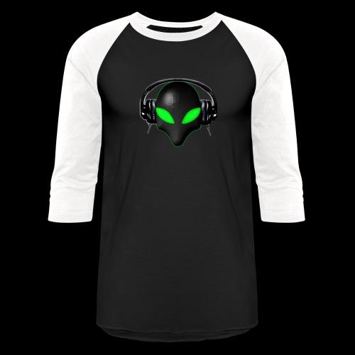Alien Bug Face Green Eyes in DJ Headphones - Unisex Baseball T-Shirt