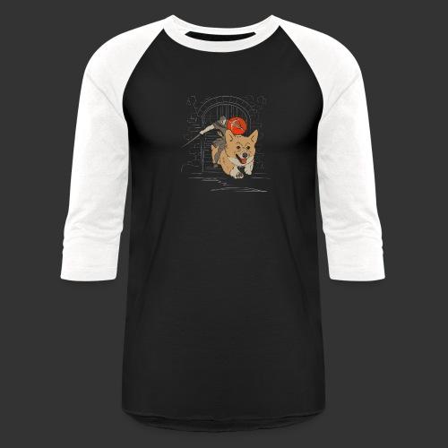 A Corgi Knight charges into battle - Baseball T-Shirt