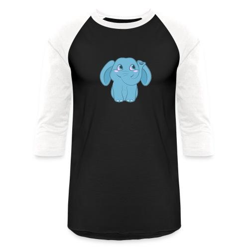Baby Elephant Happy and Smiling - Unisex Baseball T-Shirt