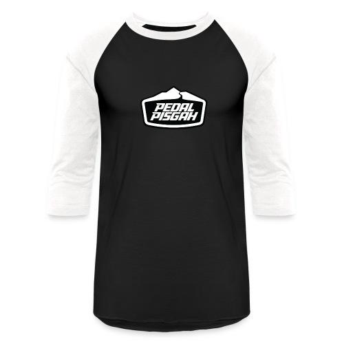 Mountain Trail Emblem Monochrome - Unisex Baseball T-Shirt