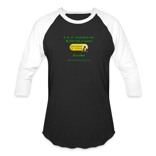 rm Linux Code of Conduct - Unisex Baseball T-Shirt