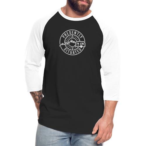 Presently Situated White Logo - Unisex Baseball T-Shirt