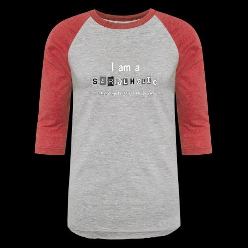 White Serialholic Logo - Unisex Baseball T-Shirt
