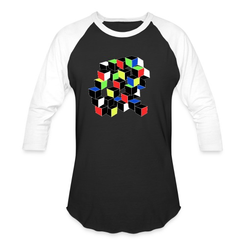 Optical Illusion Shirt - Cubes in 6 colors- Cubist - Baseball T-Shirt