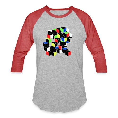 Optical Illusion Shirt - Cubes in 6 colors- Cubist - Baseball T-Shirt