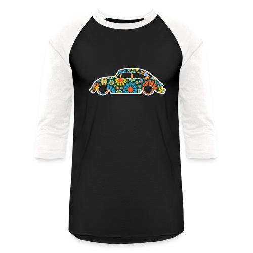 Beetle Car Flower Power - Baseball T-Shirt