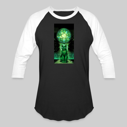 Green Satanic Cat and Pentagram Stained Glass - Baseball T-Shirt