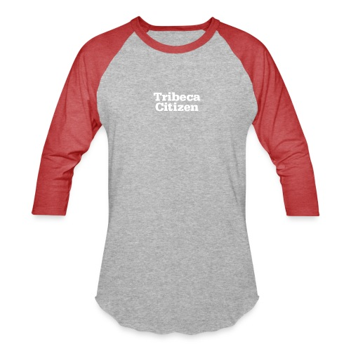 tribeca citizen stacked logo in white - Unisex Baseball T-Shirt