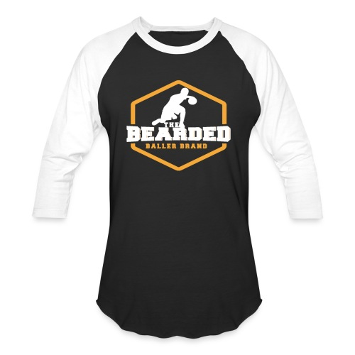The Bearded Baller Brand White and Gold - Unisex Baseball T-Shirt