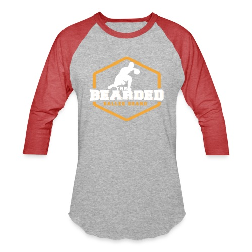 The Bearded Baller Brand White and Gold - Unisex Baseball T-Shirt