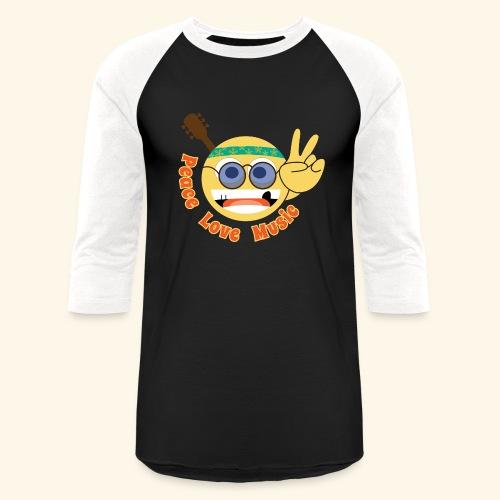 Peace love music hippie smiley - Baseball T-Shirt