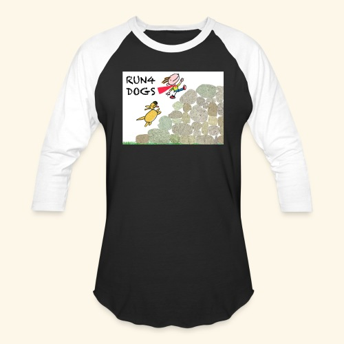 Dog chasing kid - Baseball T-Shirt