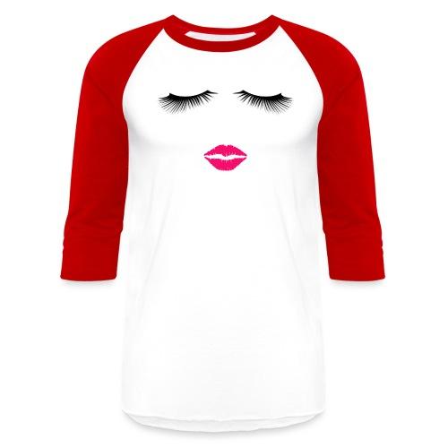 Lipstick and Eyelashes - Baseball T-Shirt