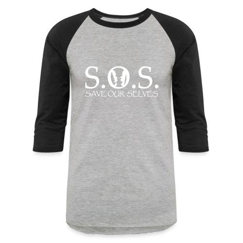 SOS WHITE4 - Unisex Baseball T-Shirt