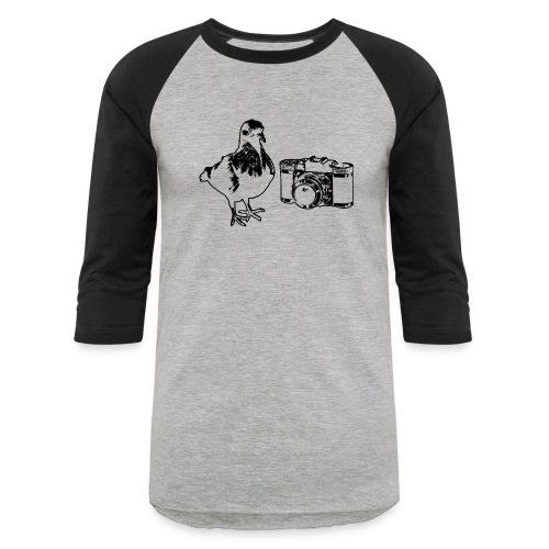 Pigeon Camera Black - Baseball T-Shirt