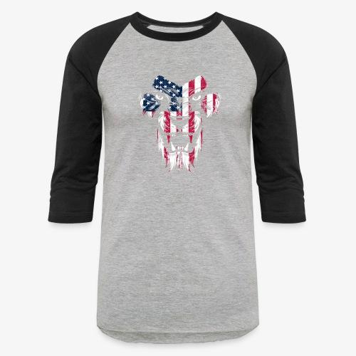 American Flag Lion - Baseball T-Shirt