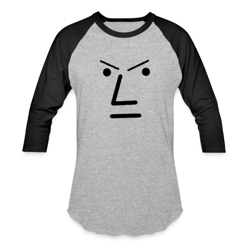 Grey Face Design Angry - Unisex Baseball T-Shirt