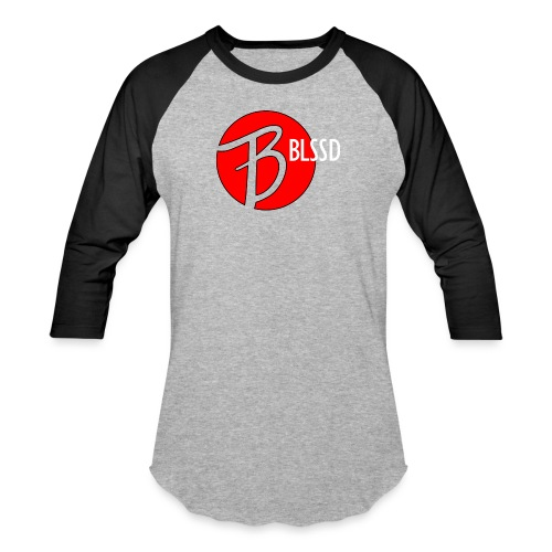 RED BLSSD CIRCLE WITH WHITE WRITING - Unisex Baseball T-Shirt