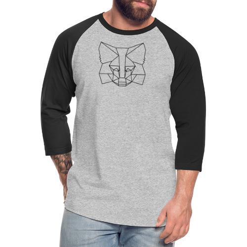 MetaMask Fox Outline black - Unisex Baseball T-Shirt