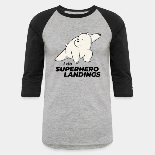 superhero landing hero - Unisex Baseball T-Shirt