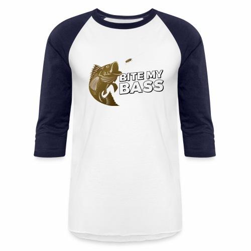 Bass Chasing a Lure with saying Bite My Bass - Baseball T-Shirt