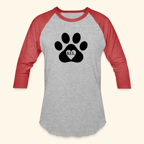 Dog Paw B.F.F. Design - Unisex Baseball T-Shirt