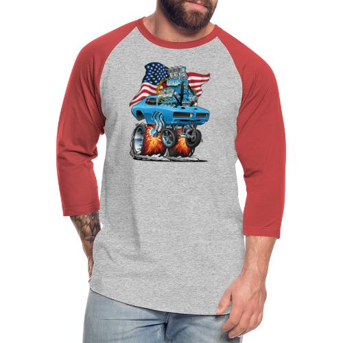 Patriotic Sixties American Muscle Car with Flag - Unisex Baseball T-Shirt