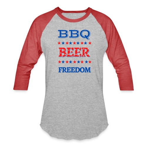 BBQ BEER FREEDOM - Unisex Baseball T-Shirt