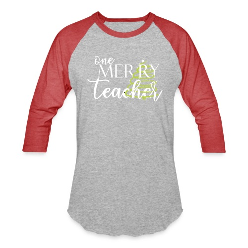 One Merry Teacher Christmas Tree Teacher T-Shirt - Unisex Baseball T-Shirt