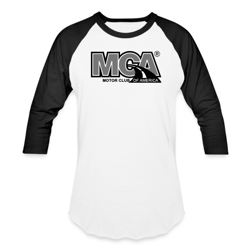 MCA Logo WBG Transparent BLACK WHITE TITLEfw fw pn - Baseball T-Shirt