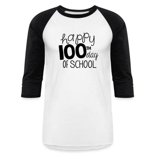 Happy 100th Day of School Chalk Teacher T-Shirt - Baseball T-Shirt