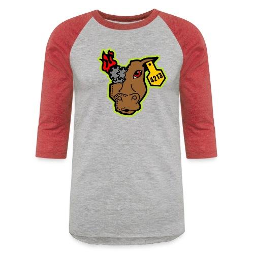 MetalCowRobotics Logo with Green Outline - Baseball T-Shirt