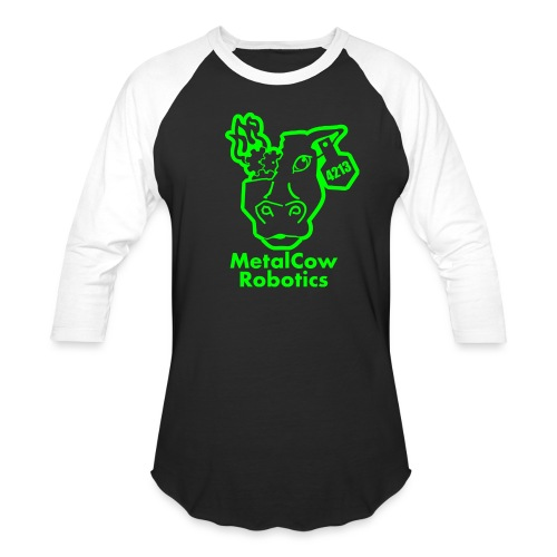 MetalCowLogo GreenOutline - Baseball T-Shirt