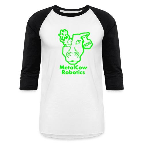 MetalCowLogo GreenOutline - Unisex Baseball T-Shirt