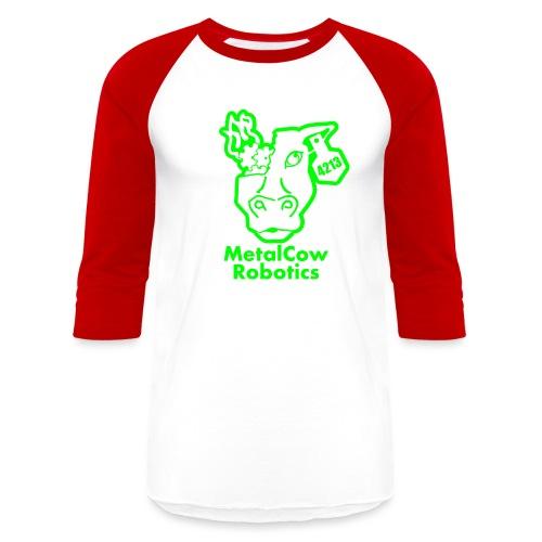 MetalCowLogo GreenOutline - Baseball T-Shirt