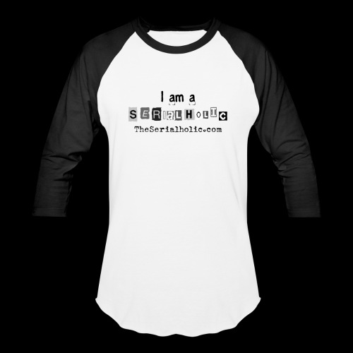 Black Serialholic Logo - Unisex Baseball T-Shirt