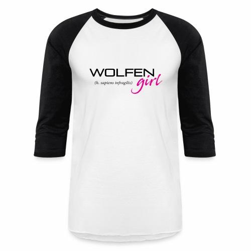 Front/Back: Wolfen Girl on Light - Adapt or Die - Unisex Baseball T-Shirt