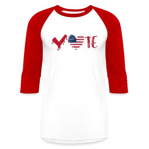 vote heart red - Unisex Baseball T-Shirt