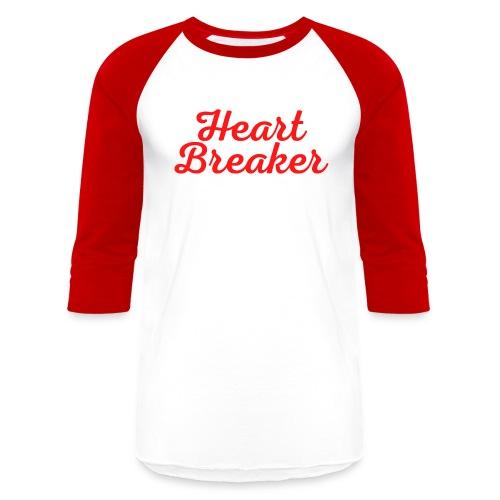 Heart Breaker in cursive handwriting - Unisex Baseball T-Shirt